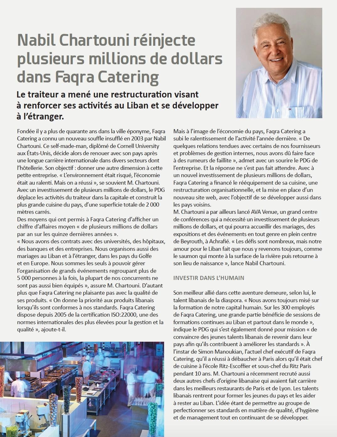 Nabil Chartouni réinjecte plusieurs millions de dollars dans Faqra Catering
